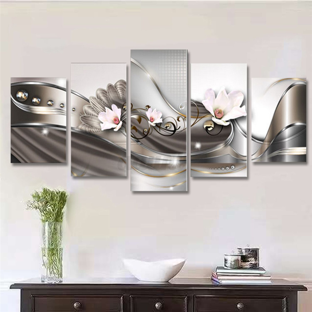 5 Panel Canvas Print Modern Picture Wall Art Decor Home Abstract Flower Framed Ebay