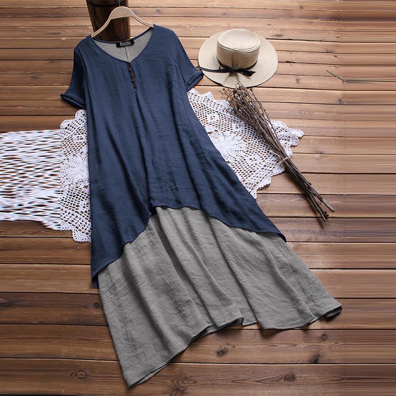 UK-Women-Short-Sleeve-V-Neck-Baggy-Tunic-Shirt-Kaftan-Long-Maxi-Dress-Plus-Size thumbnail 6