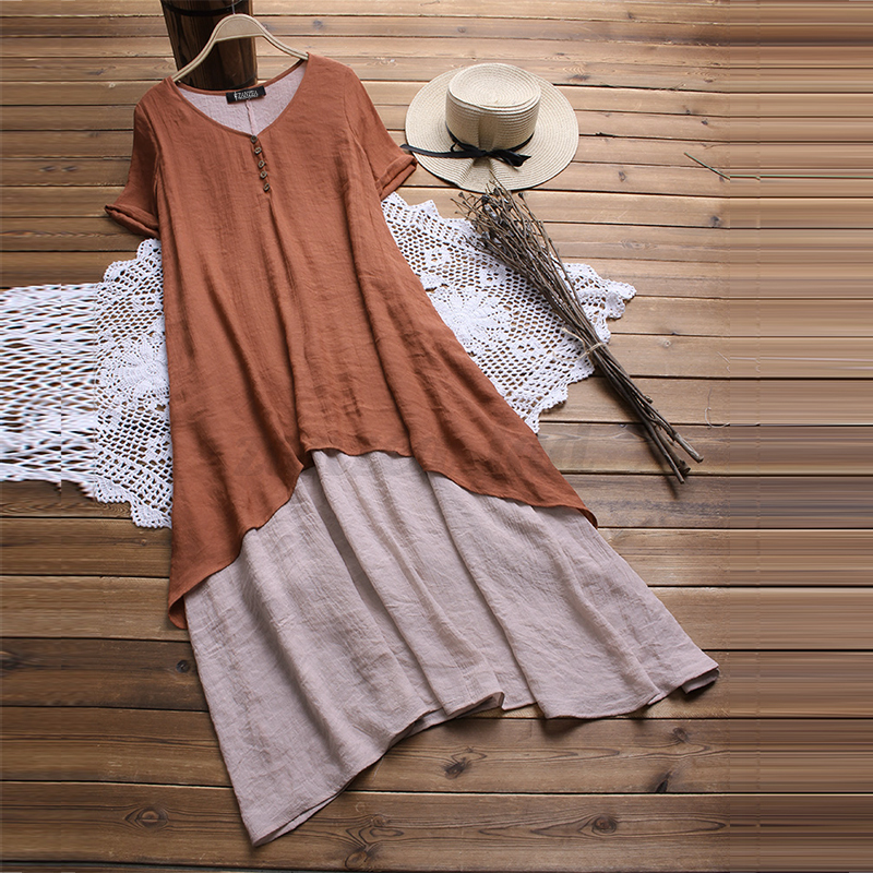 UK-Women-Short-Sleeve-V-Neck-Baggy-Tunic-Shirt-Kaftan-Long-Maxi-Dress-Plus-Size thumbnail 5