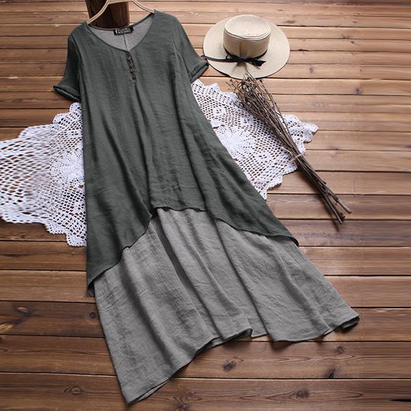 UK-Women-Short-Sleeve-V-Neck-Baggy-Tunic-Shirt-Kaftan-Long-Maxi-Dress-Plus-Size thumbnail 8