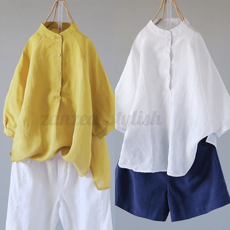 9d2eefe2a47 UK New Women Plus Size Cotton Linen Baggy Tops Tee Casual Tunic ...