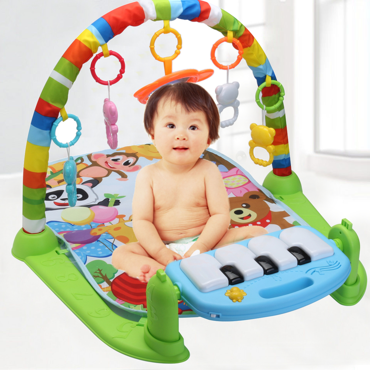 JN_ 4 in 1 Baby Gym Floor Play Mat Blanket Pedal Piano Musical Kick Play Toy H Baby Gear