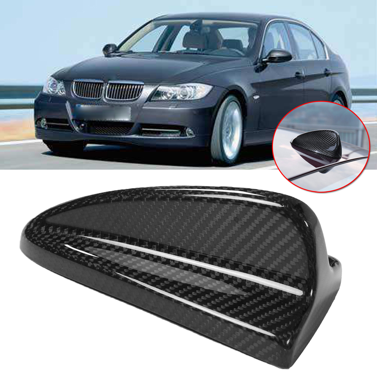 Carbon Fiber Antenna Cover Shark Fin Trim for 04-13 BMW E90 /& E90 M3 E46 E82 1M