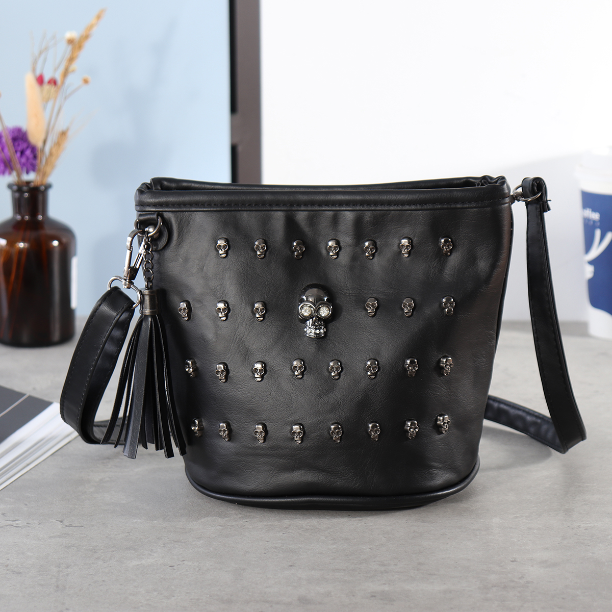 452f6092ebec Details about Kadell Women Skull Punk Goth Tassel Messenger Shoulder Bag  Crossbody Tote