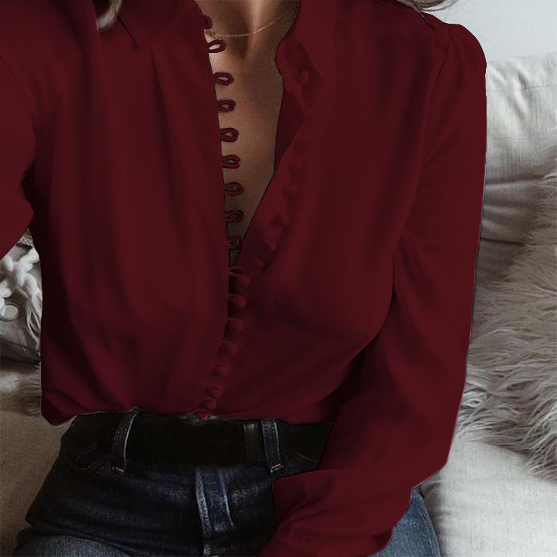 UK-8-24-Women-Long-Sleeve-Sexy-Deep-V-Neck-Ladies-Casual-Loose-Tops-Blouse-Shirt