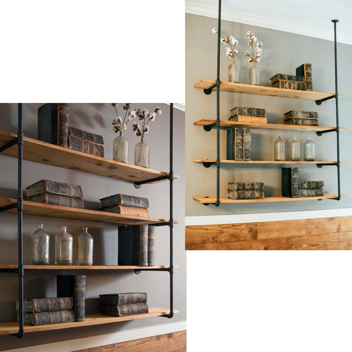 King Do Way Industrial Pipe Wall Shelves Diy Ladder Shelf Floating Wall Mount Shelf Bookshelf Storage