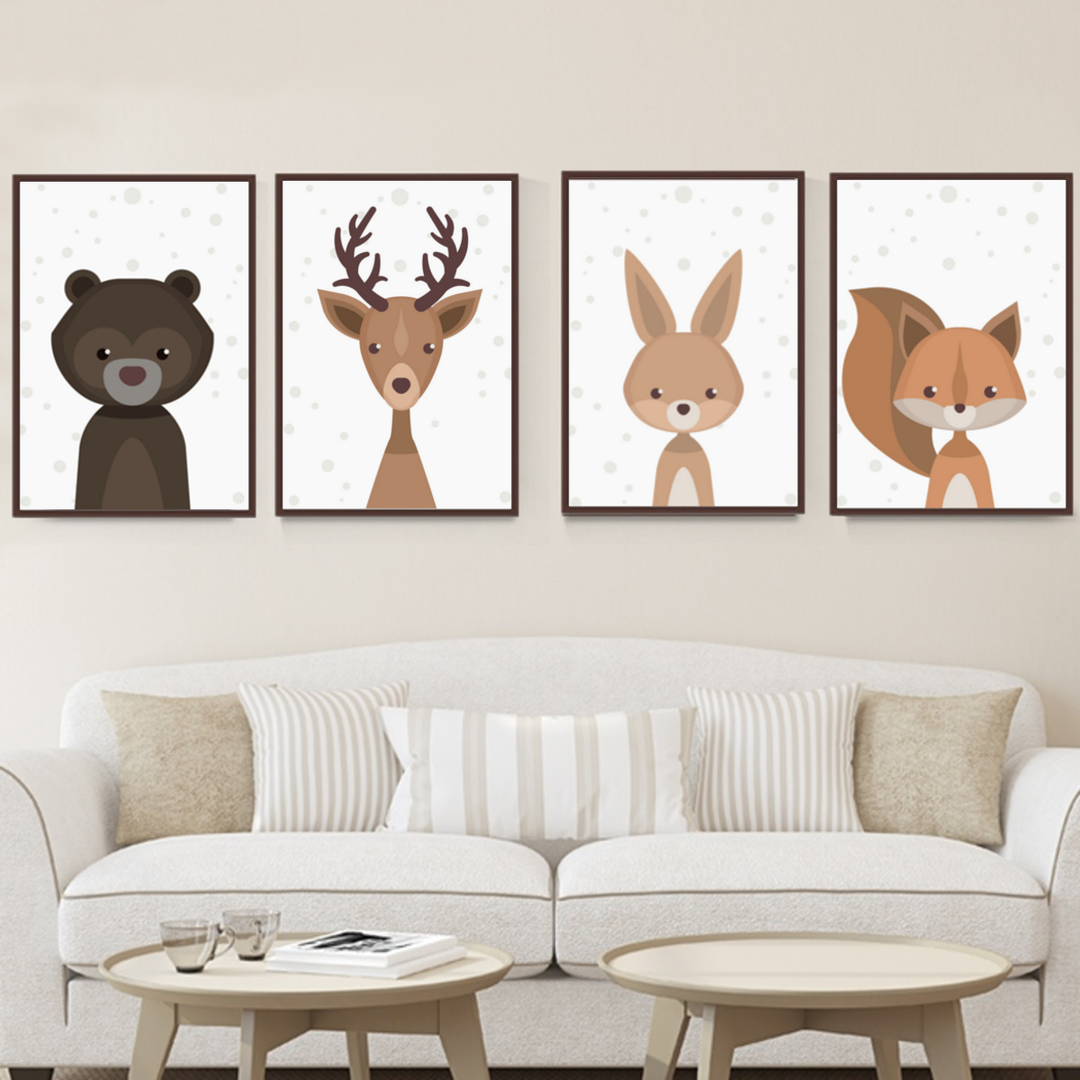 Details about Cartoon Fox Animal Canvas Poster Nordic Art Prints Baby Kids  Room Wall Decor