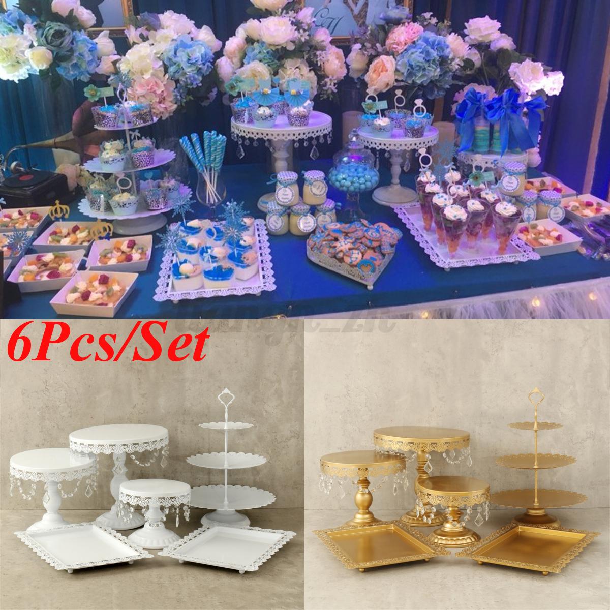 set of 6 pieces white gold crystal cake stand cupcake wedding dessert candy bar ebay. Black Bedroom Furniture Sets. Home Design Ideas