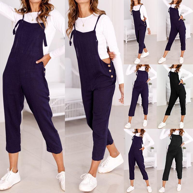 afb9e9feb962 Image is loading Women-Bib-Pants-Playsuit-Jumpsuit-Romper-Pinafores- Suspenders-