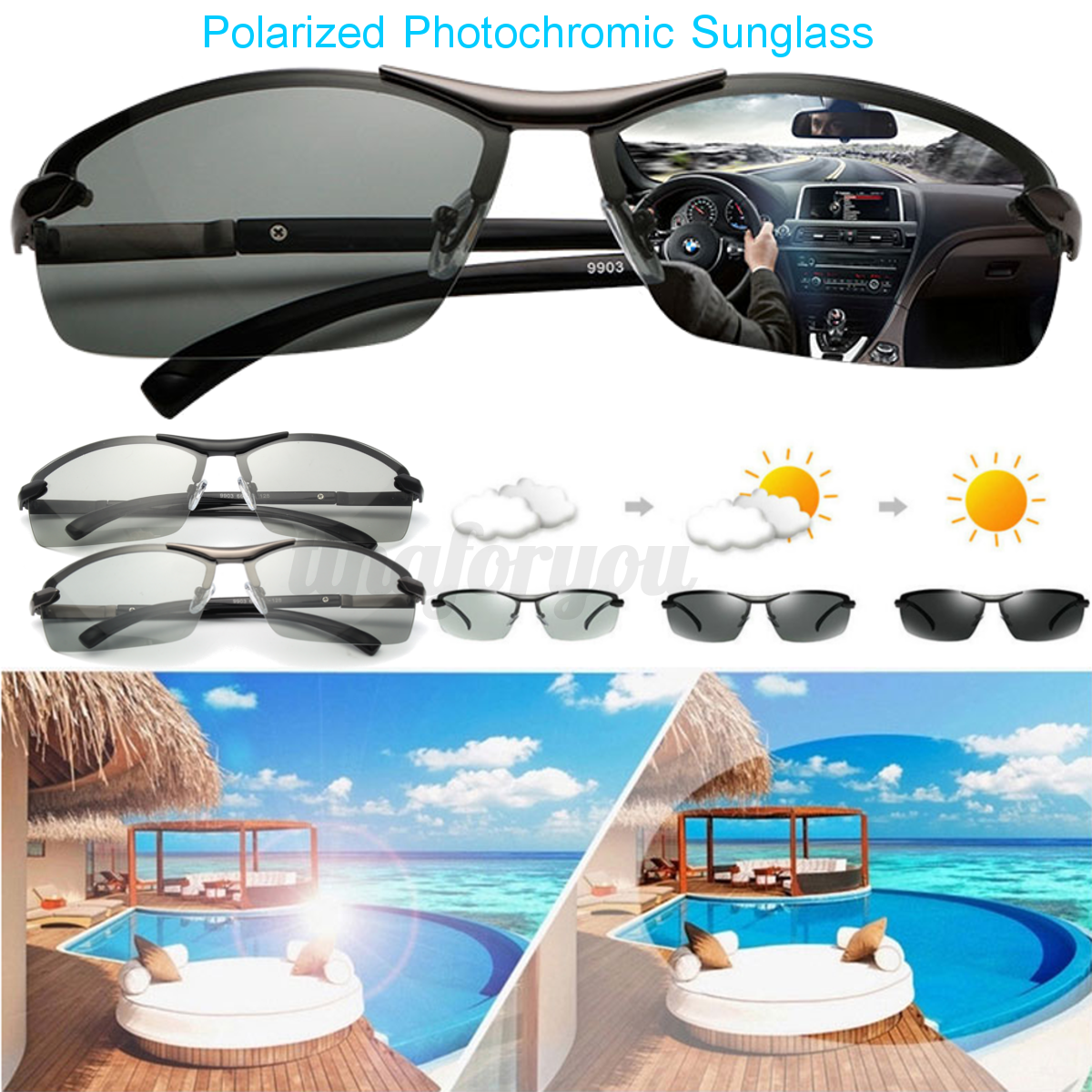 97054c4bb9b Details about UV400 Polarized Photochromic Sunglasses Men s Driving  Transition Lens Sunglasses