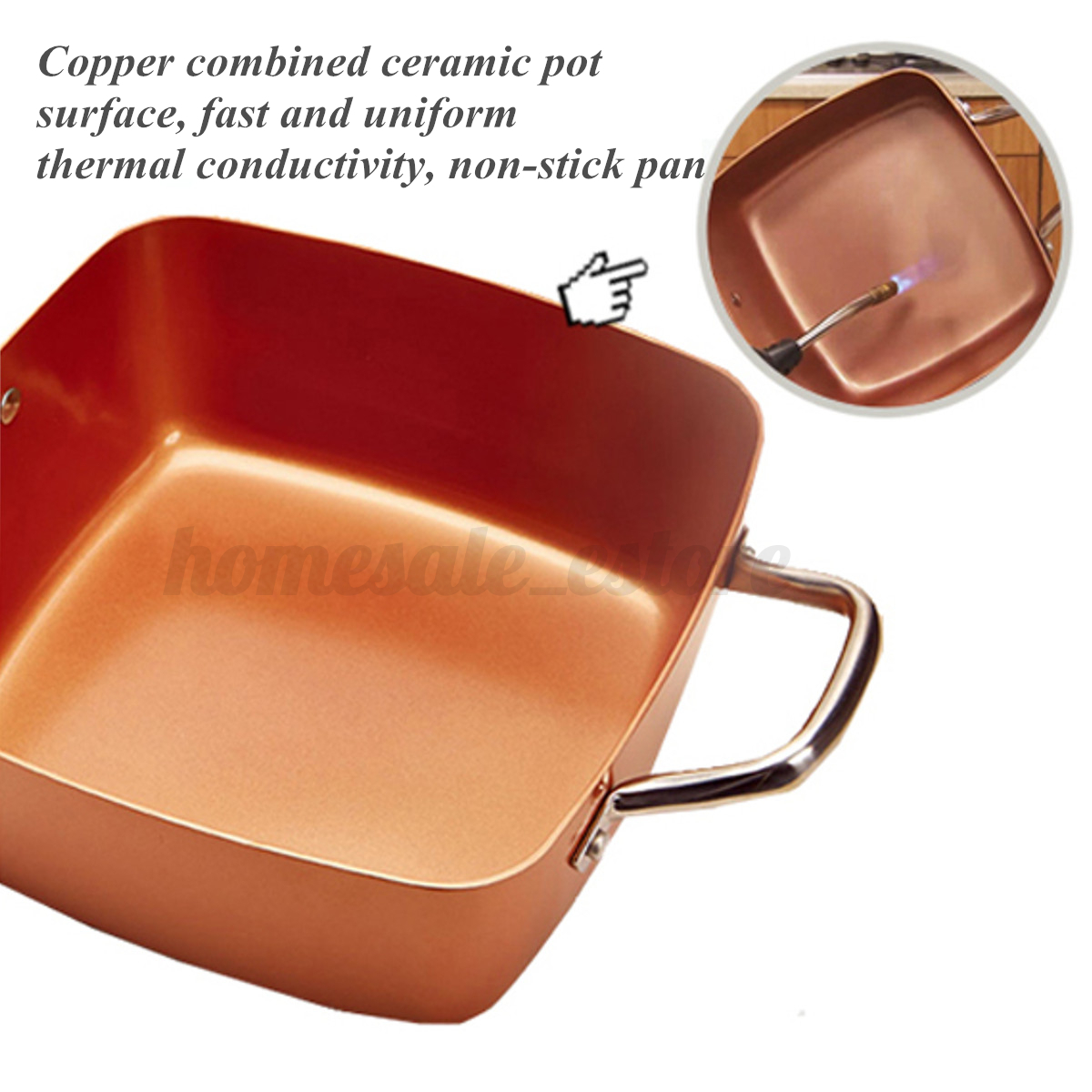 Induction Copper Round Pan Amp Set Square Pan Chef Glass Lid