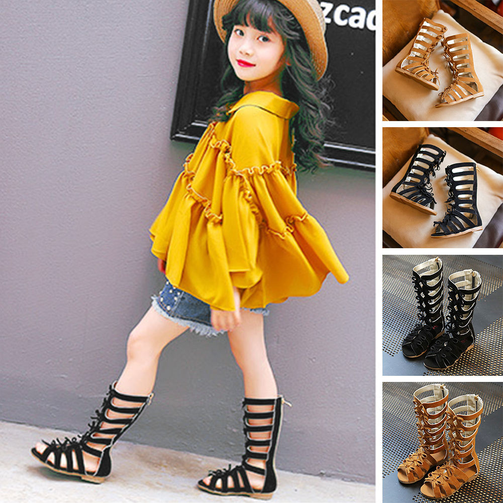 b1e901a0bd25a7 Summer Baby Kid Girl Toddler Gladiator Sandals Knee High Suede ...
