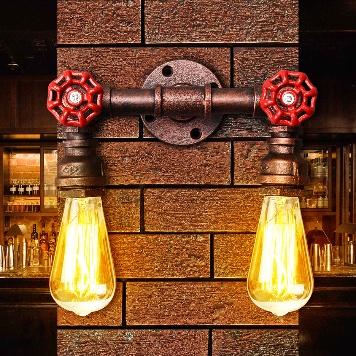 E27 Vintage Industrial Iron Dual Water Pipe Porch Wall Lamp Sconce ...