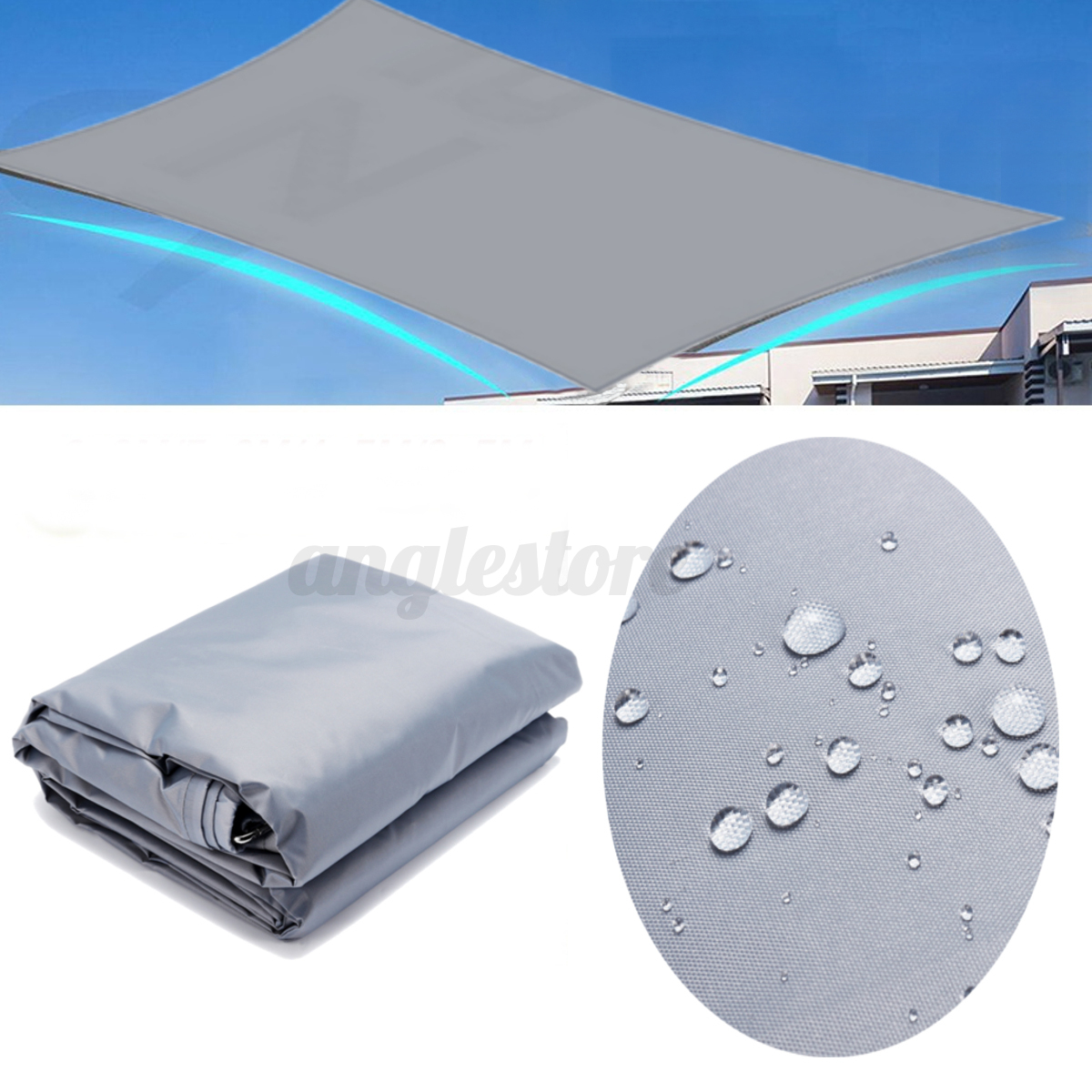 Waterproof-Sun-Shade-Sail-UV-Patio-Outdoor-Top-Canopy-Rectangle-Triangle-Cover miniature 9