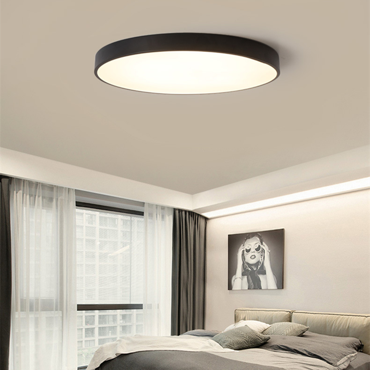 24w Led Dimmable Ceiling Light Round Flush Mounted Fixture: 12/18/24W Round LED Ceiling Light Mount Fixture Lamp For