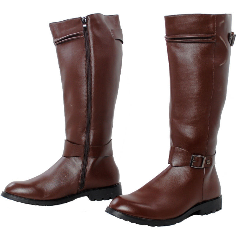 Herren Reißverschluss Reiten Militär PU Leder Kniehoch Stiefel Schuhe Übergröße