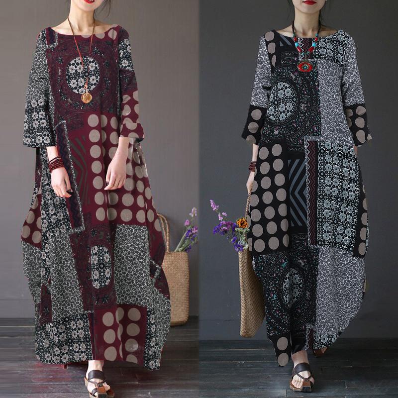 ZANZEA-8-24-Women-Autumn-Winter-Long-Maxi-Kaftan-Caftan-Abaya-Retro-Floral-Dress thumbnail 4