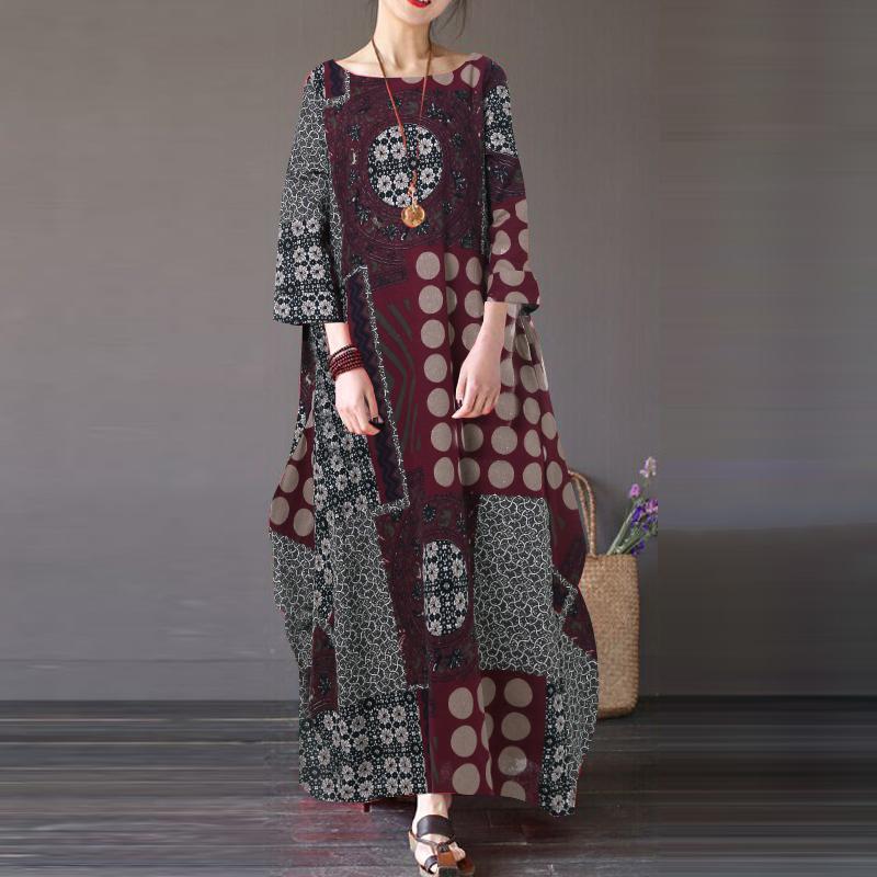 ZANZEA-8-24-Women-Autumn-Winter-Long-Maxi-Kaftan-Caftan-Abaya-Retro-Floral-Dress thumbnail 7