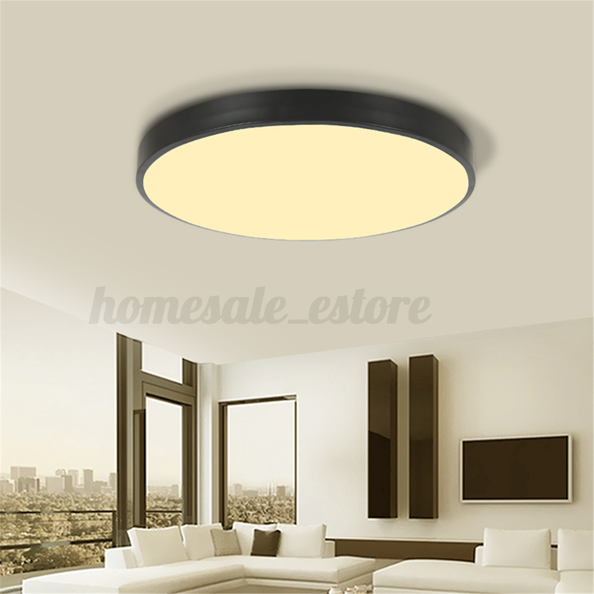 Light Filled Contemporary Living Rooms: Black/White Modern LED Ceiling Light Surface Mount Lamp