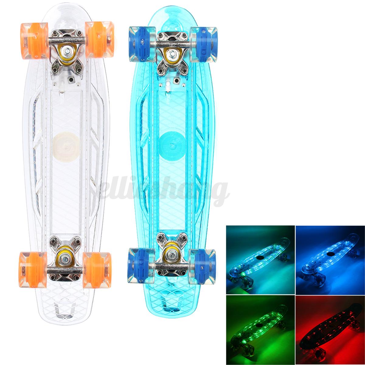22'' LED Skateboard Longboard Flash di Luce Per Adulti e Bambini Quattro Ruote
