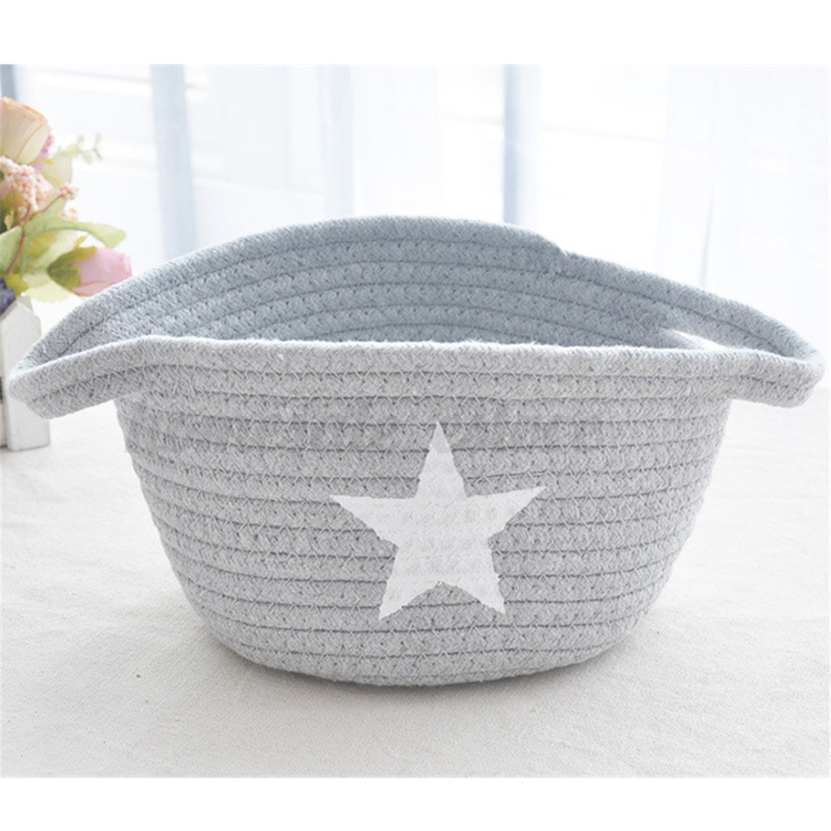 Handmade Cotton Baskets : Cotton handmade yarn sorting woven desktop organizer