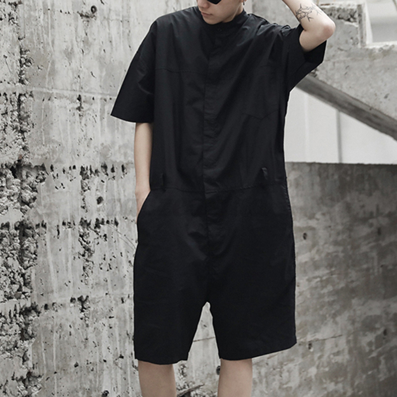 Fashion-Mens-Womens-Dungarees-Jumpsuit-Short-Sleeve-Pants-Rompers-Short-Overalls thumbnail 12