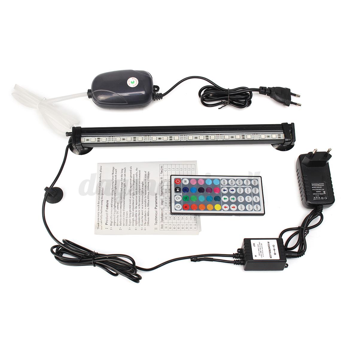 Aquarium-Fish-Tank-LED-Light-Bar-Oxygen-Air-Pump-Remote-Control-12-26-31-41-46CM