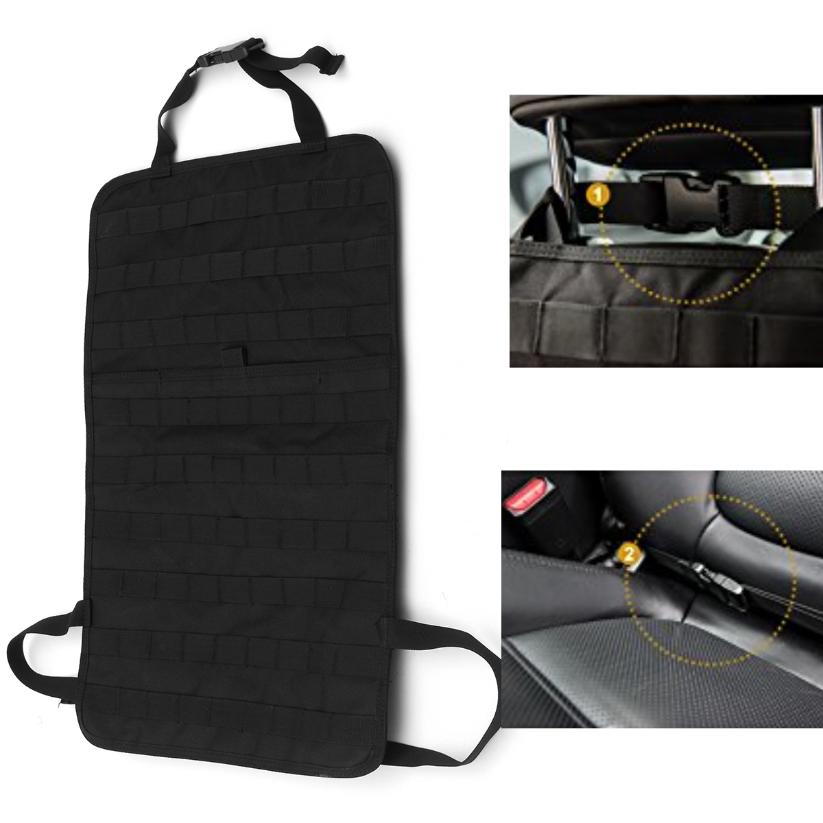 car seat back organizer tactical vehicle panel car seat cover storage molle 6216809815552 ebay. Black Bedroom Furniture Sets. Home Design Ideas