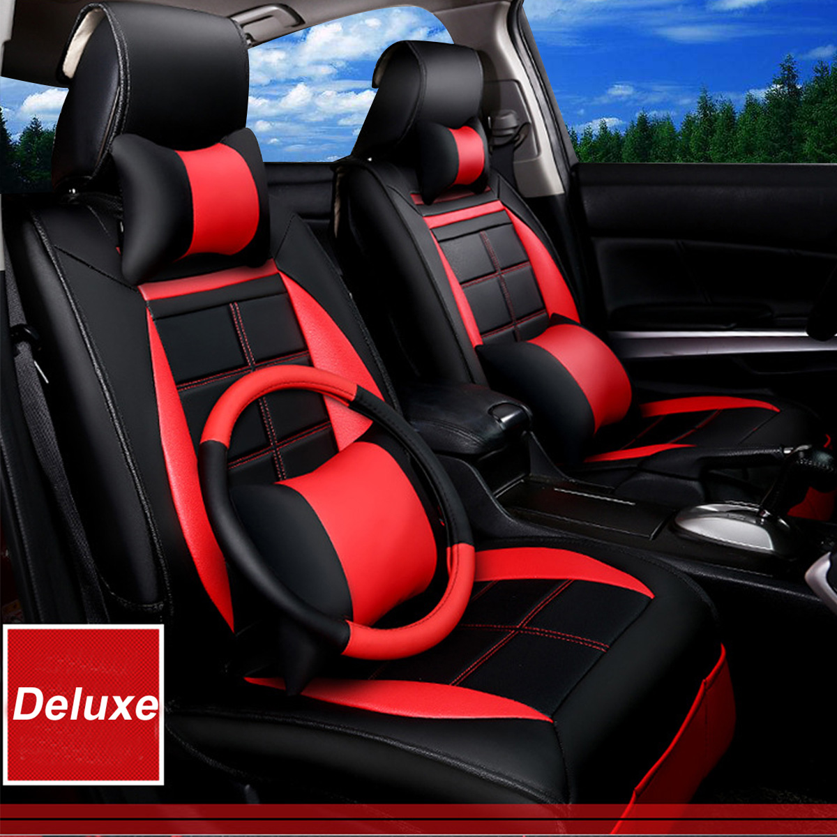 deluxe edition pu leather 5 seats car seat covers front rear cushion pillows us ebay. Black Bedroom Furniture Sets. Home Design Ideas