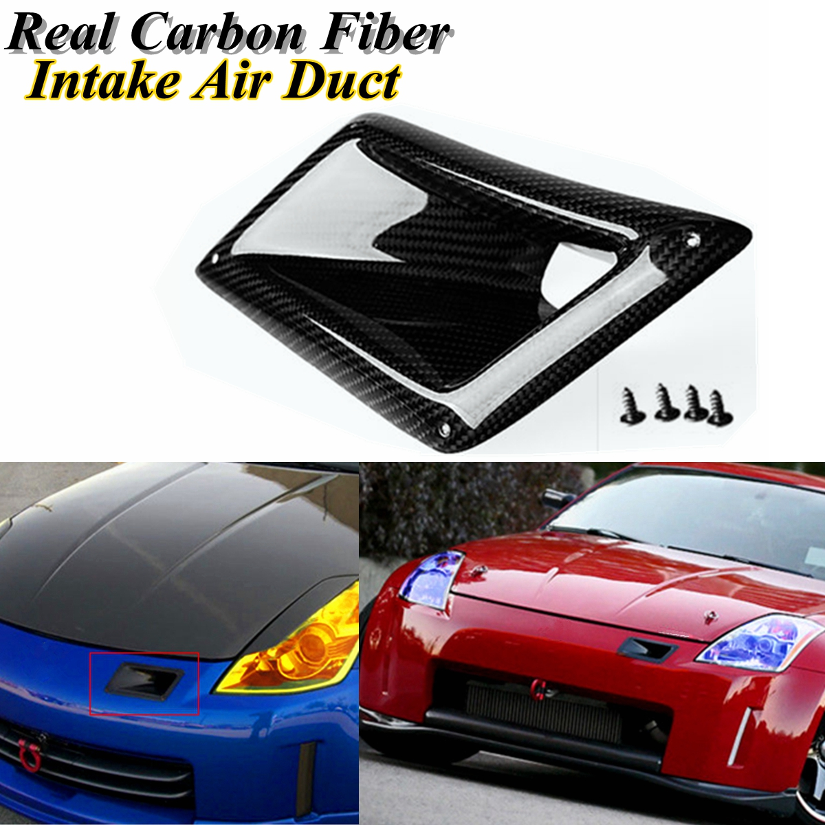 Right Carbon Fiber Side Vent Intake Duct For Nissan 350Z Z33 2005 2006 2007 FM