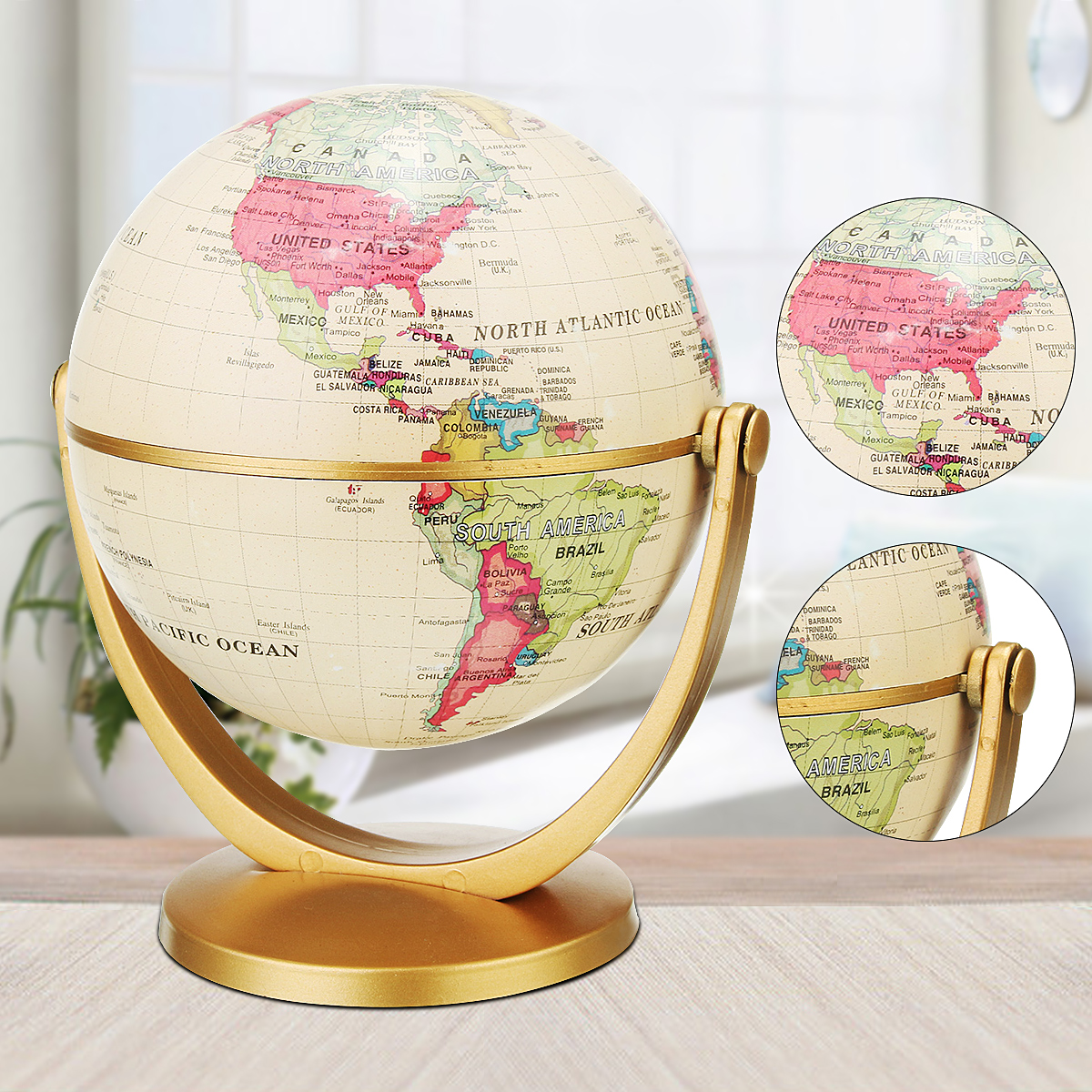 360° Rotating Retro Earth Globe World Map Geography Toy Home Office ...