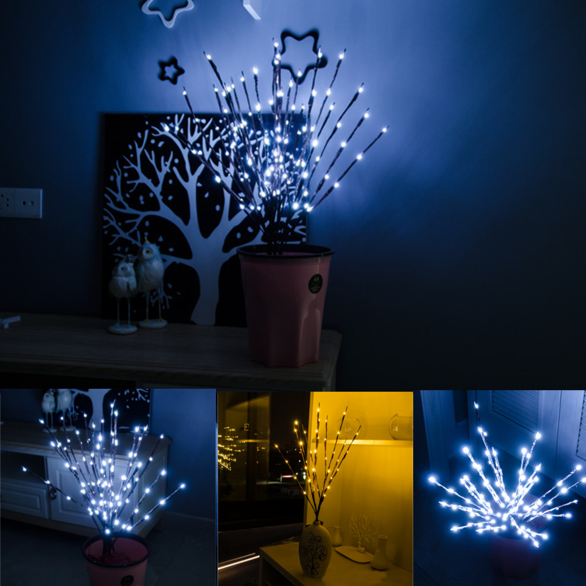 74cm 20 Led Twig Branch Fairy Light Wedding Christmas Party