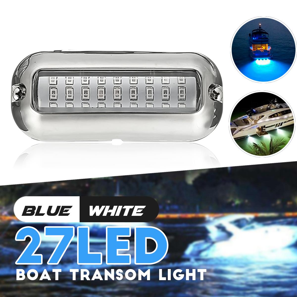 "3.5/"" 50W Stainless Steel 27LED Blue Underwater Pontoon Marine Boat Transom Light"