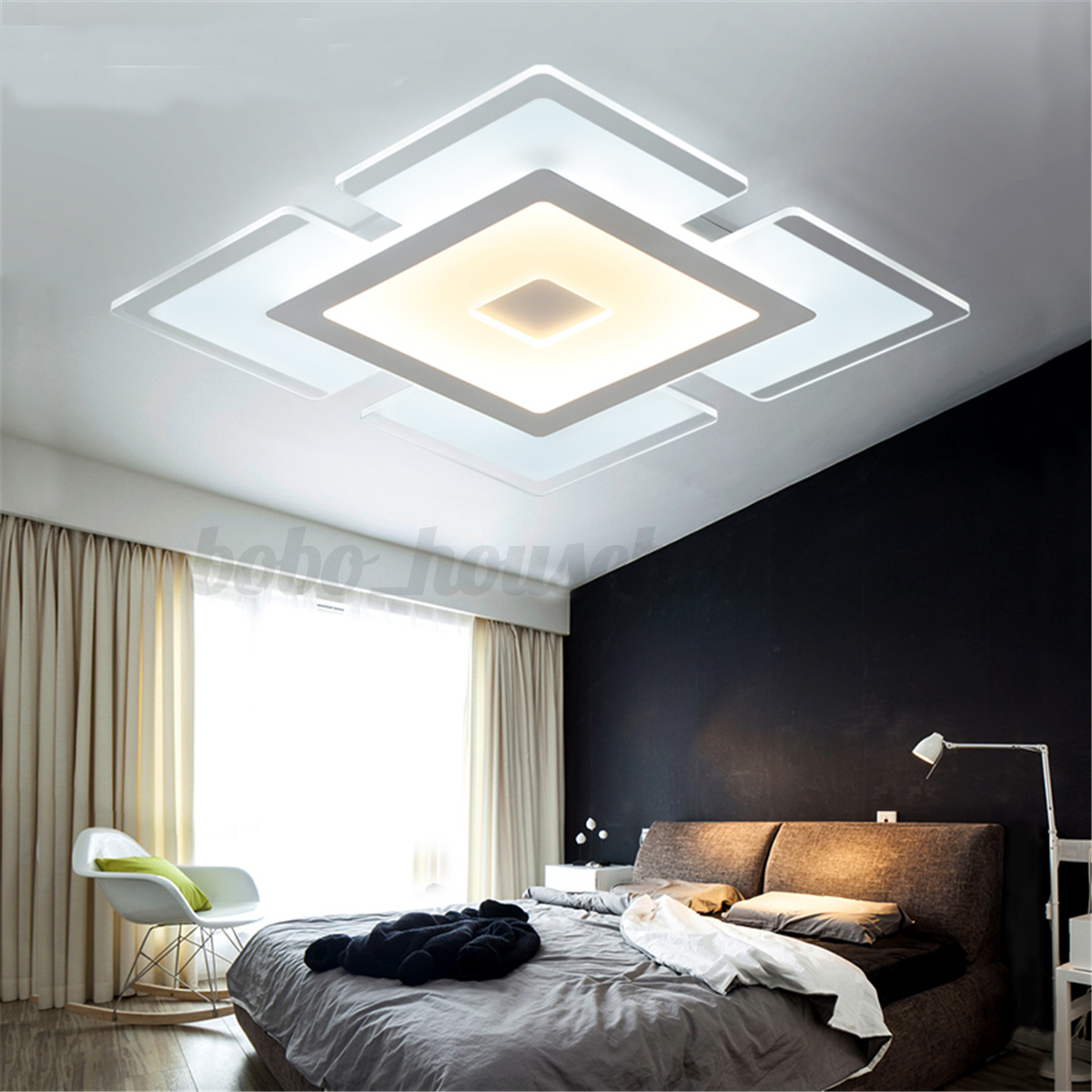 Modern simple square acrylic led ceiling light living room bedroom home lamp ebay - Colors for modern living room chromatic vitality ...