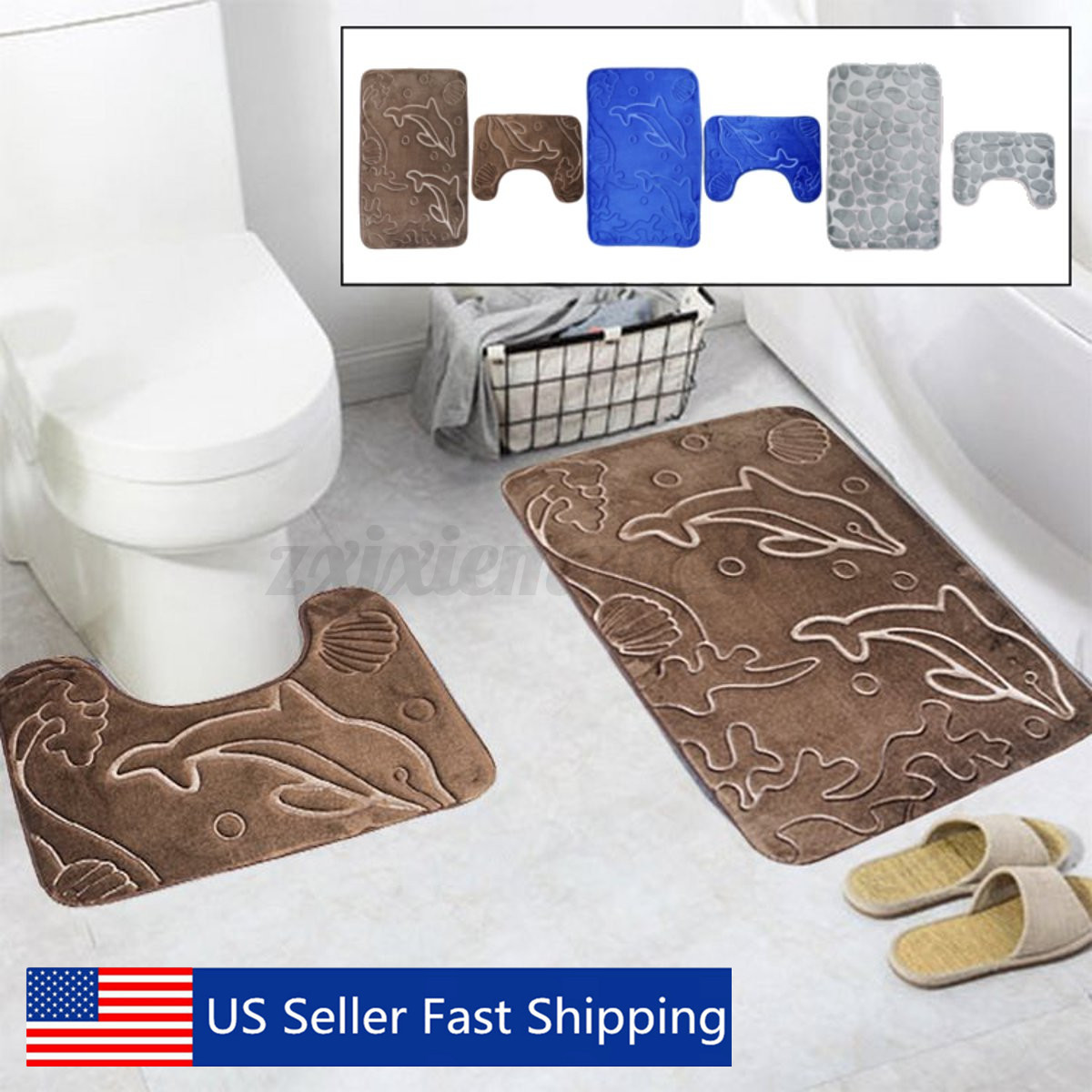 2Pcs Non-Slip Bath Mat Flannel Carpets Toilet Seat Area Rug