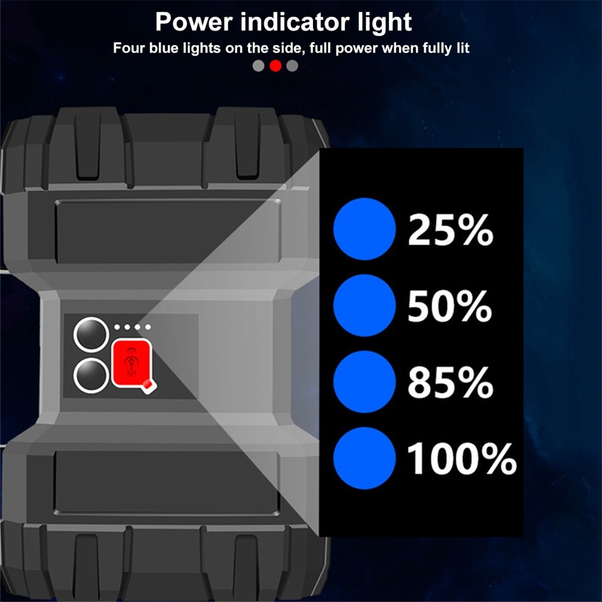 60W Bright Double Flashlight Searchlight Lamp USB Outdoor Camping Light 7-Modes