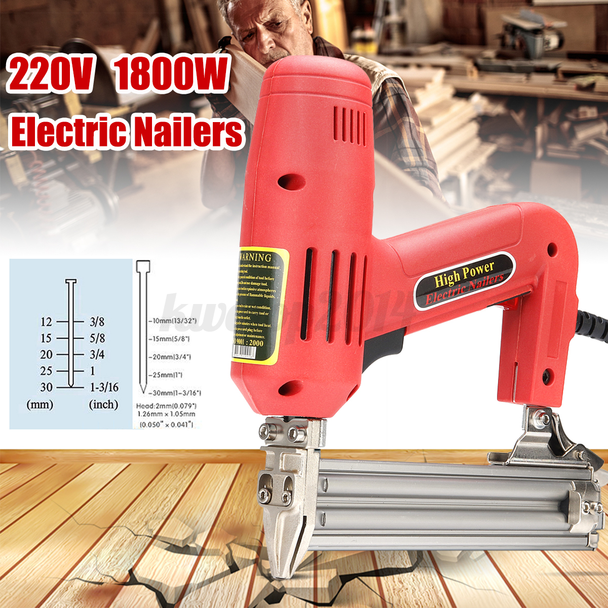 220V 1800W Electric Staple Nail Gun Framing 10-30 MM Straigh