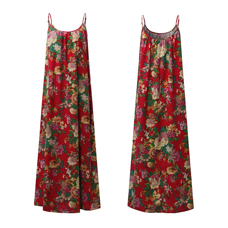 ZANZEA-Women-Spaghetti-Strap-Flare-Swing-Maxi-Sundress-Floral-Party-Beach-Dress