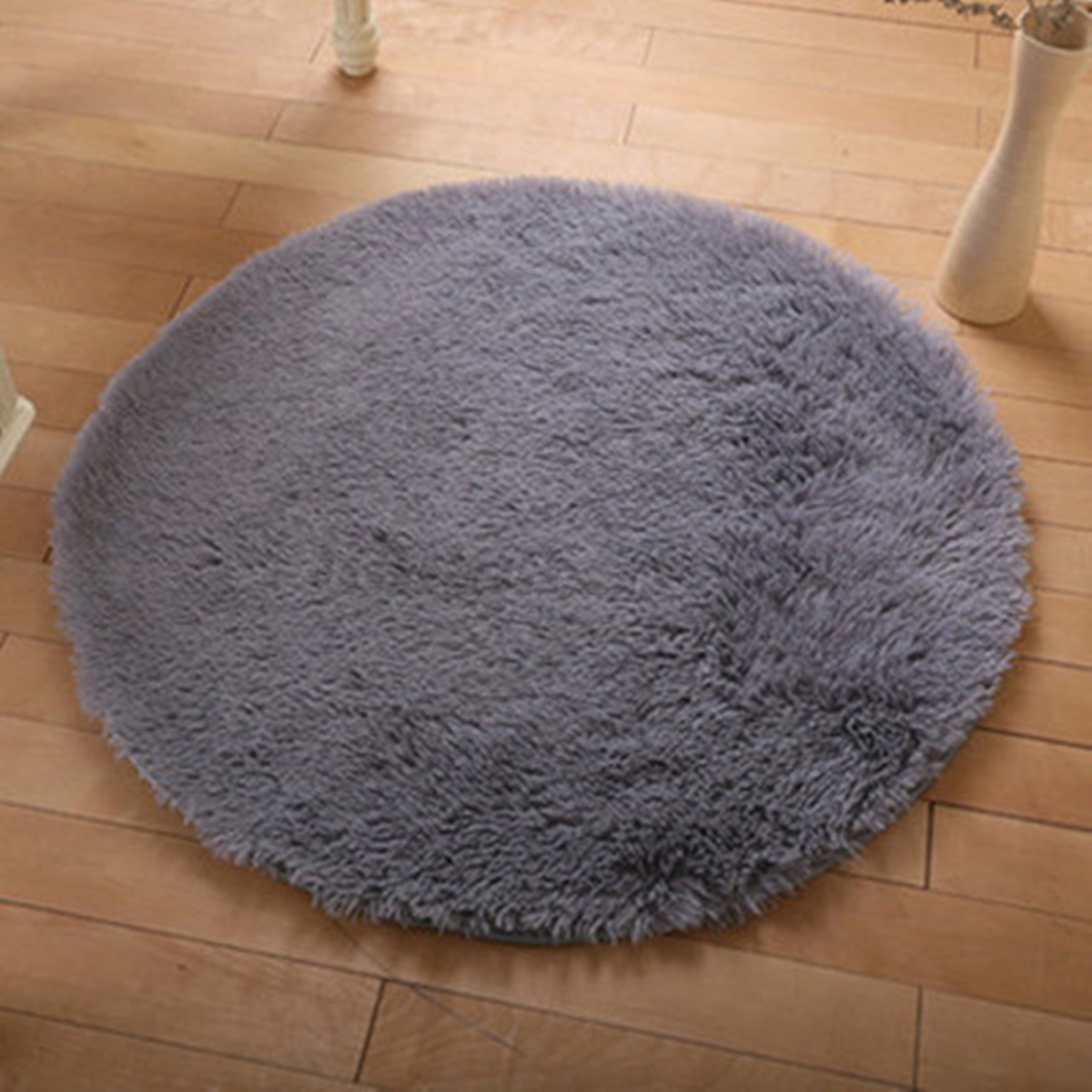 Fluffy Circle Round Shag Plush Soft Floor Carpet Pink Red