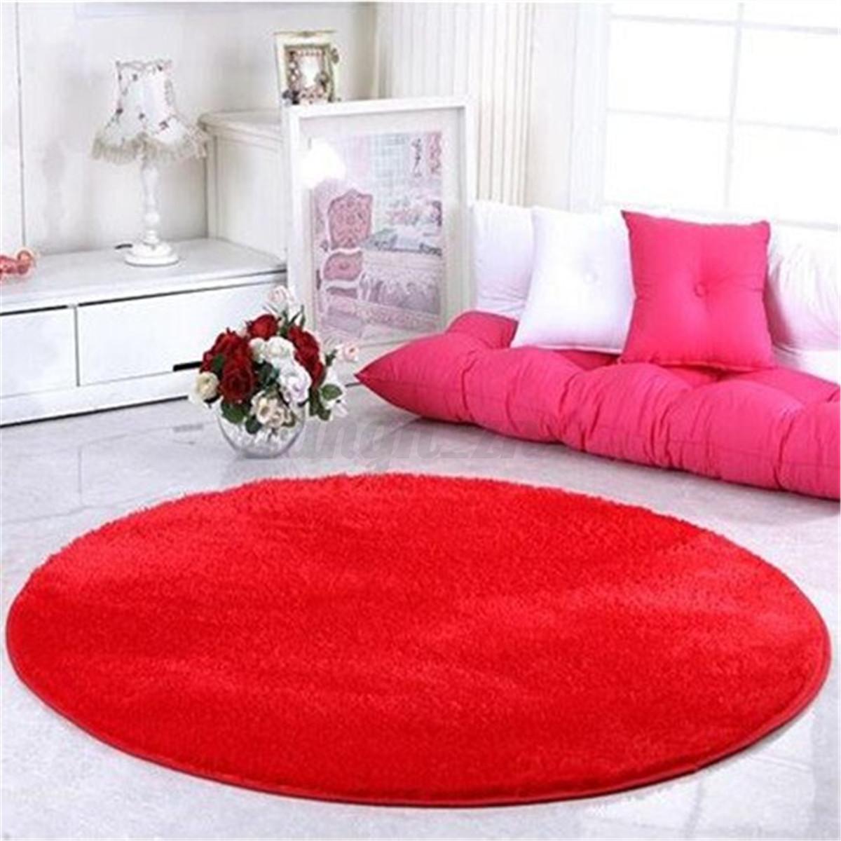 Bedroom With Red Carpet Zen Bedroom Furniture Bedroom Colors Light Purple Vintage Bedroom Curtains: Fluffy Circle Round Shag Plush Soft Floor Carpet Pink Red