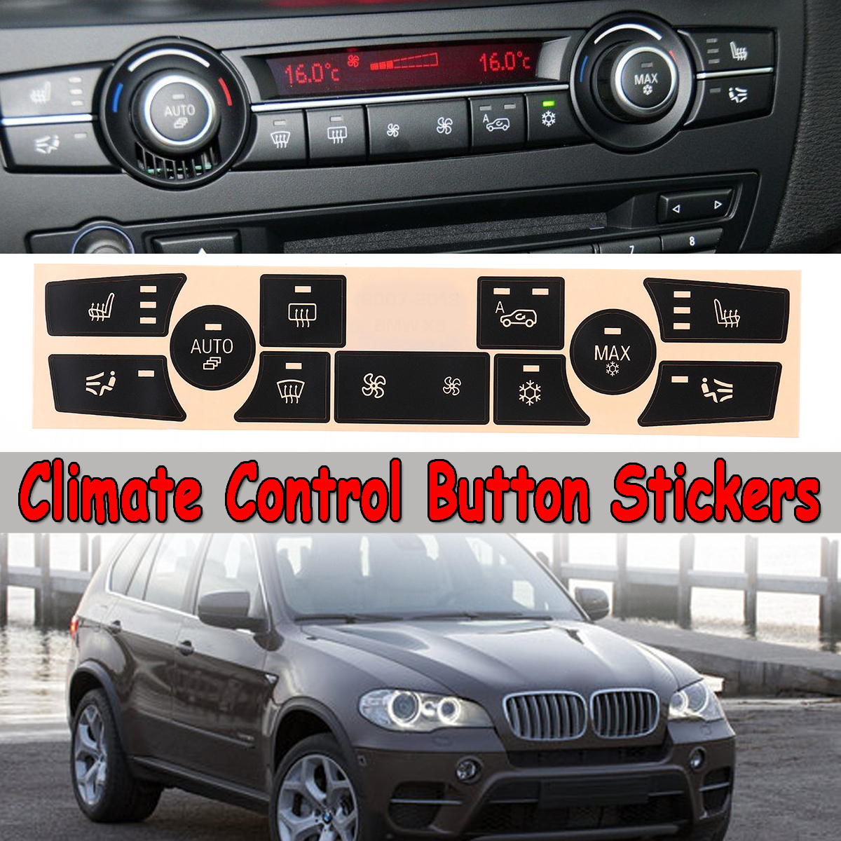 Details About For 2007 2013 Bmw X5 Replacement Ac Climate Dash Control Button Stickers