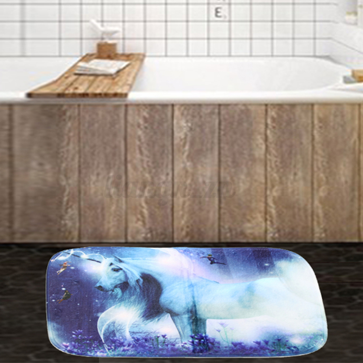 licorne rideau polyester douche panneau imperm able salle de bain 12 crochet mat ebay. Black Bedroom Furniture Sets. Home Design Ideas