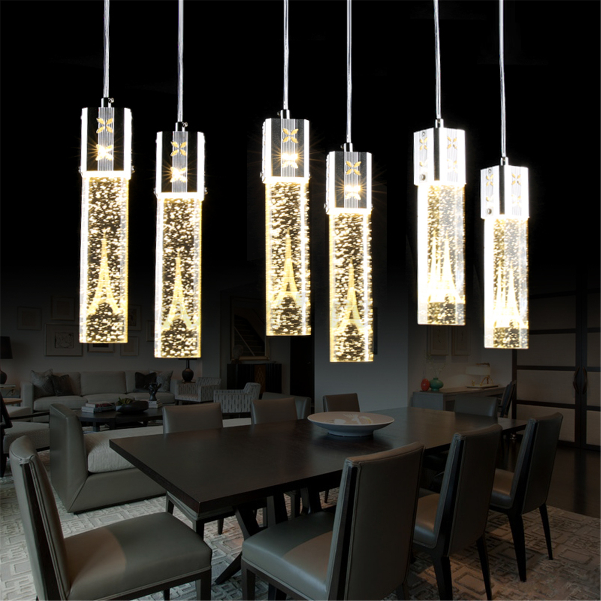 Tower LED Crystal Ceiling Light Bubble Bar Pendant Lamp