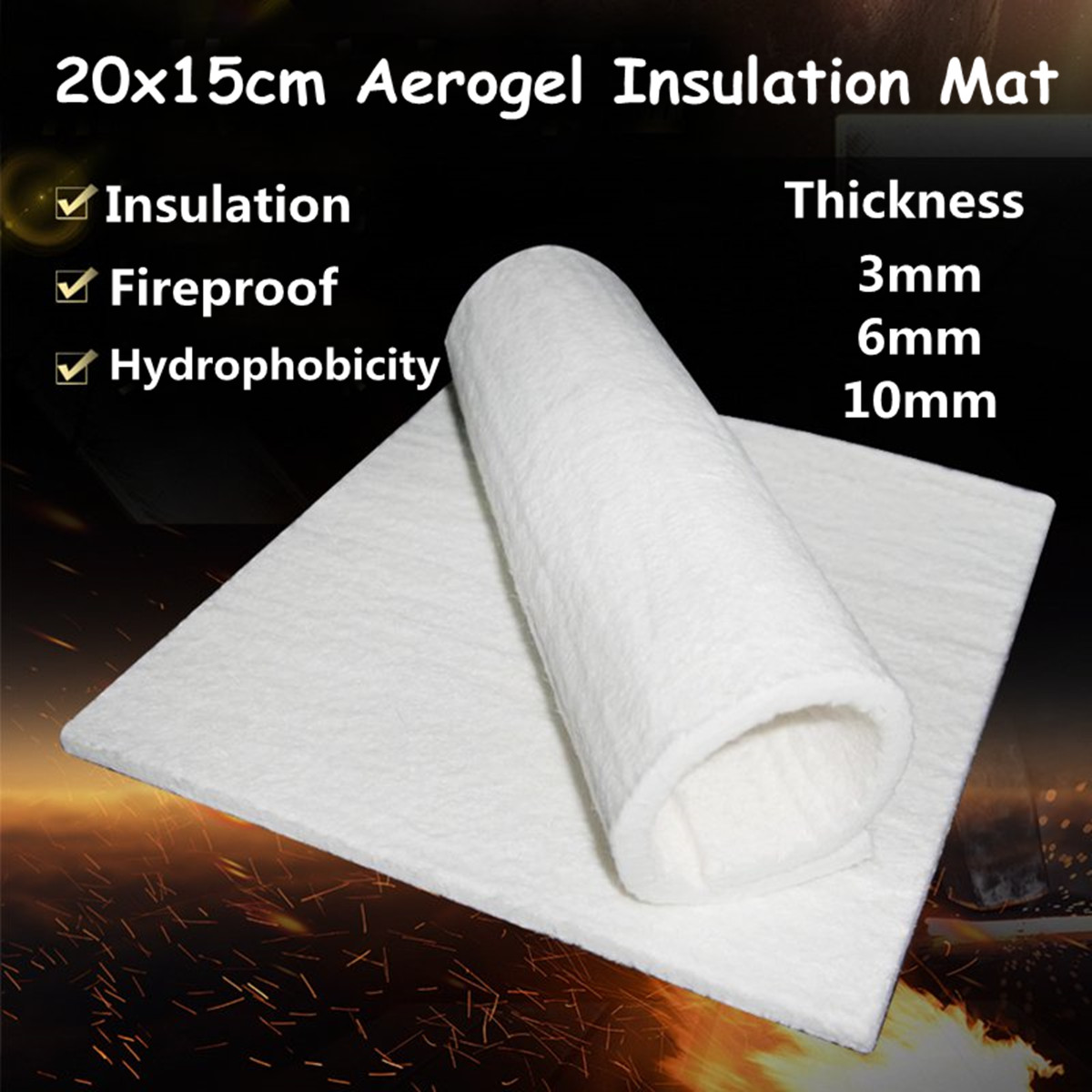 Details about 200x150x10mm Super Light Silica Aerogel Insulation  Hydrophobic Mat Industrial