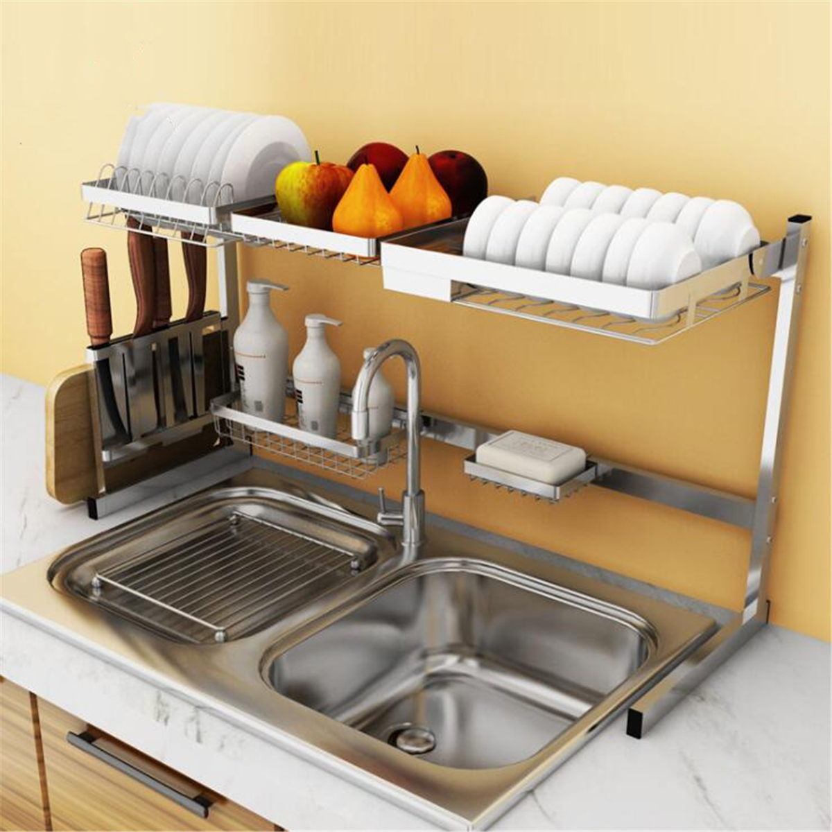 Details about Stainless Steel Kitchen Shelf Rack Plate Dish Rack Drying  Drain Storage Holders