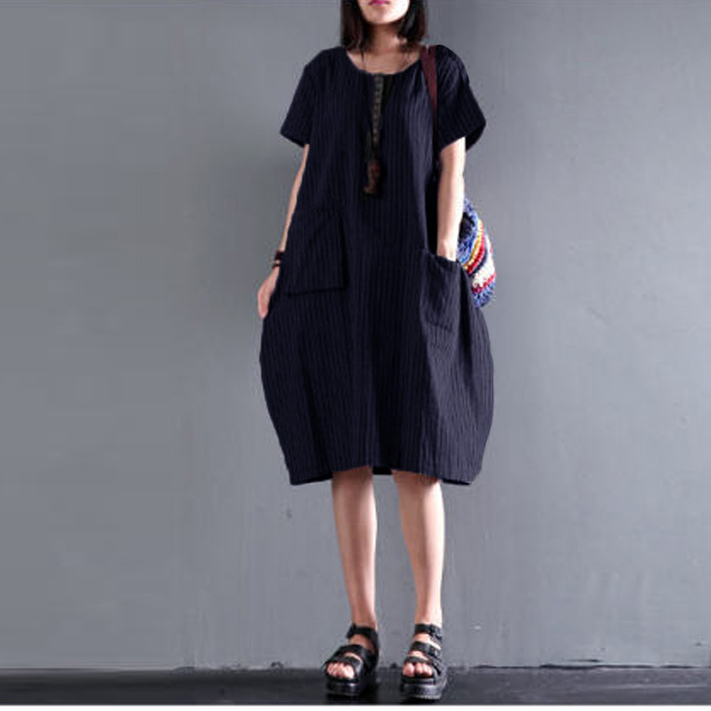 ZANZEA-Women-Summer-Casual-Long-Blouse-Top-Short-Sleeve-Plus-Size-Striped-Dress