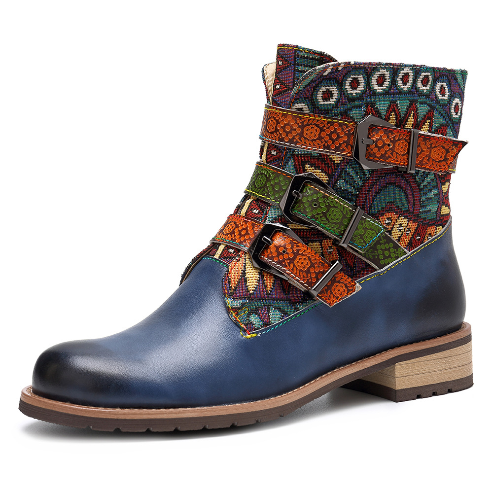 Women-Wedge-Retro-Cowboy-Casual-Ankle-Boots-Floral-Zip-Block-Heel-Leather