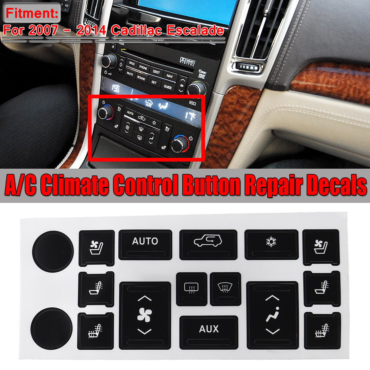 A//C Button Stickers Kit Dash Repair Replacement for W204 C300 2008-2014 Black