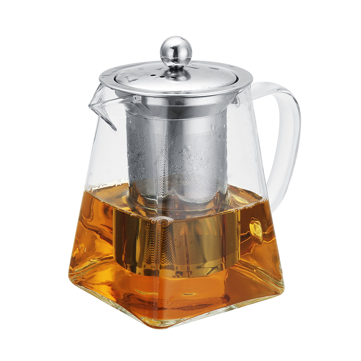 Heat-Resistant-Clear-Glass-Teapot-w-Stainless-Steel-Strainer-Filter-Tea-Infuser
