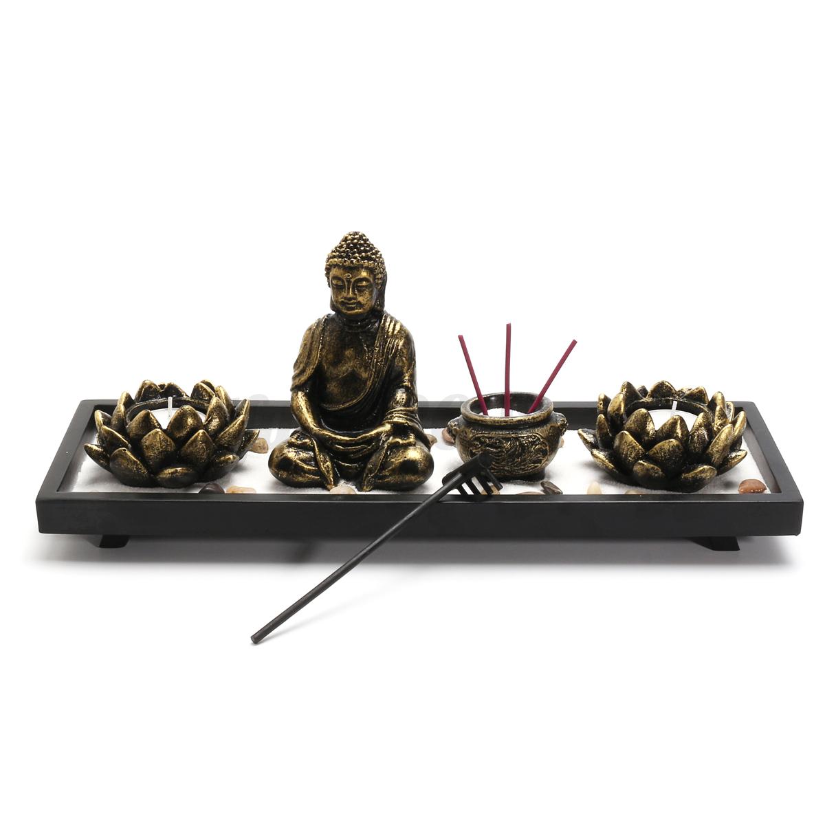 deko set zen garten buddha sand felsen r ucherst bchen rake feng shui dekoration ebay. Black Bedroom Furniture Sets. Home Design Ideas